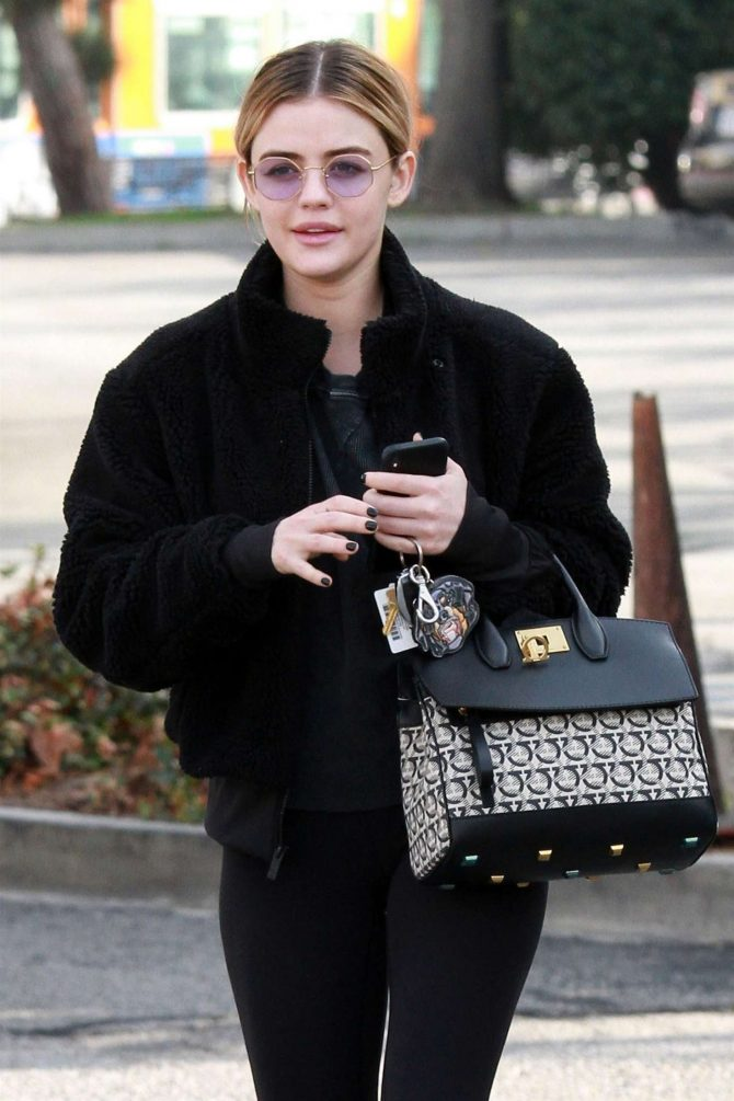 Lucy Hale in Black Outfit - Out in Studio City