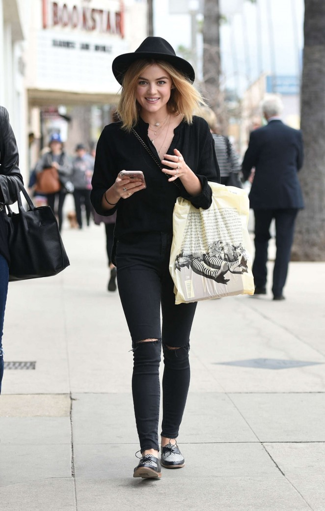 Lucy Hale in Black Ripped Jeans out in Studio City