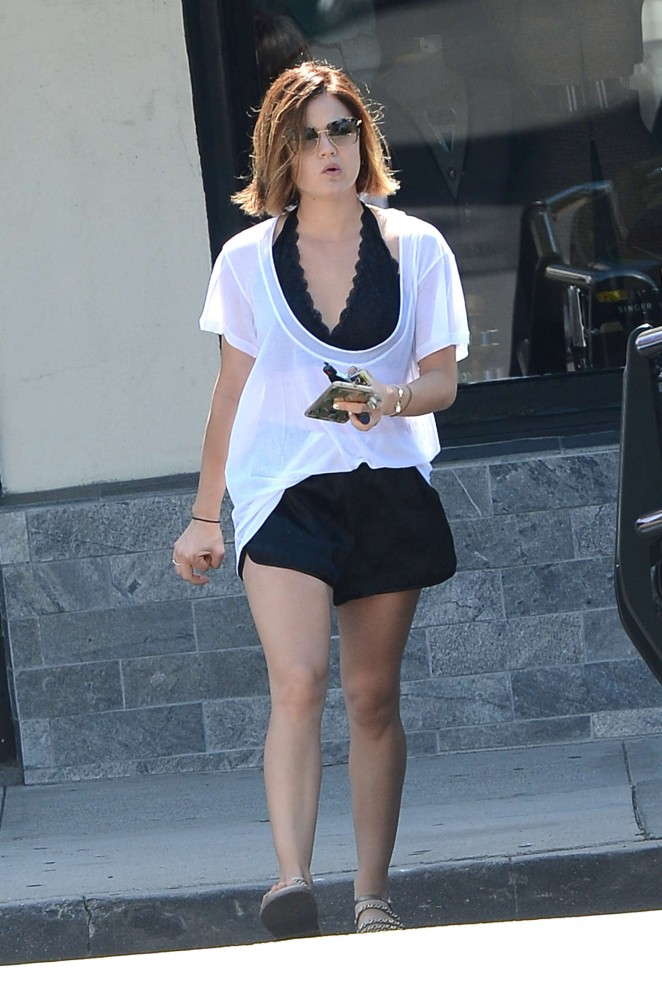 Lucy Hale in Black Shorts Out in West Hollywood