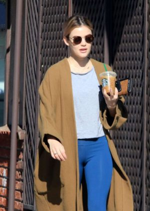 Lucy Hale in Blue Tights and Long Coat - Out in Los Angeles