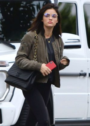 Lucy Hale in Bomber Jacket out in LA