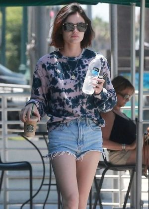 Lucy Hale in Denim Shorts at Starbucks in Studio City
