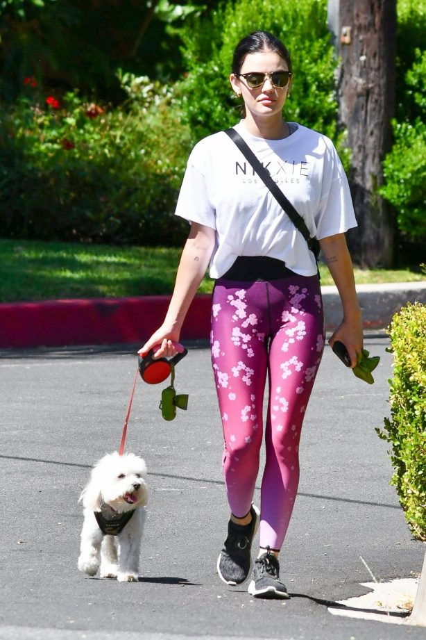 Lucy Hale in Floral Print Tights - Walking her pooch Elvis in Los Angeles