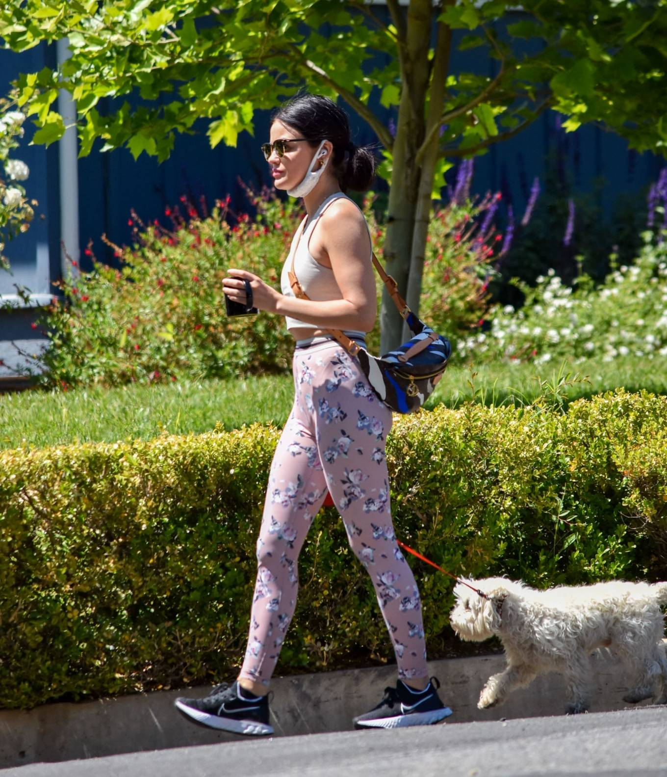 Lucy Hale 2020 : Lucy Hale in Floral Tights – Walking Elvis in Los Angeles-02
