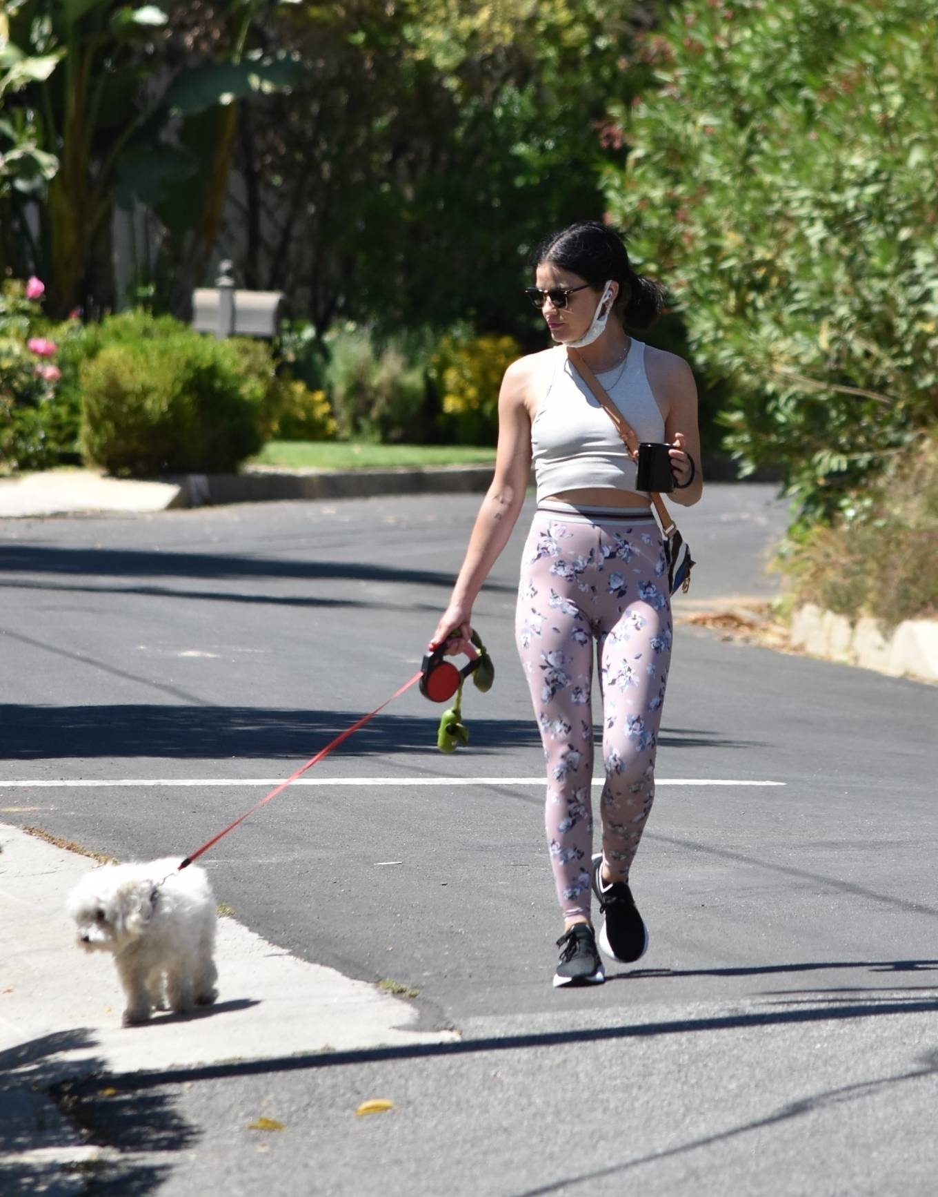 Lucy Hale 2020 : Lucy Hale in Floral Tights – Walking Elvis in Los Angeles-08