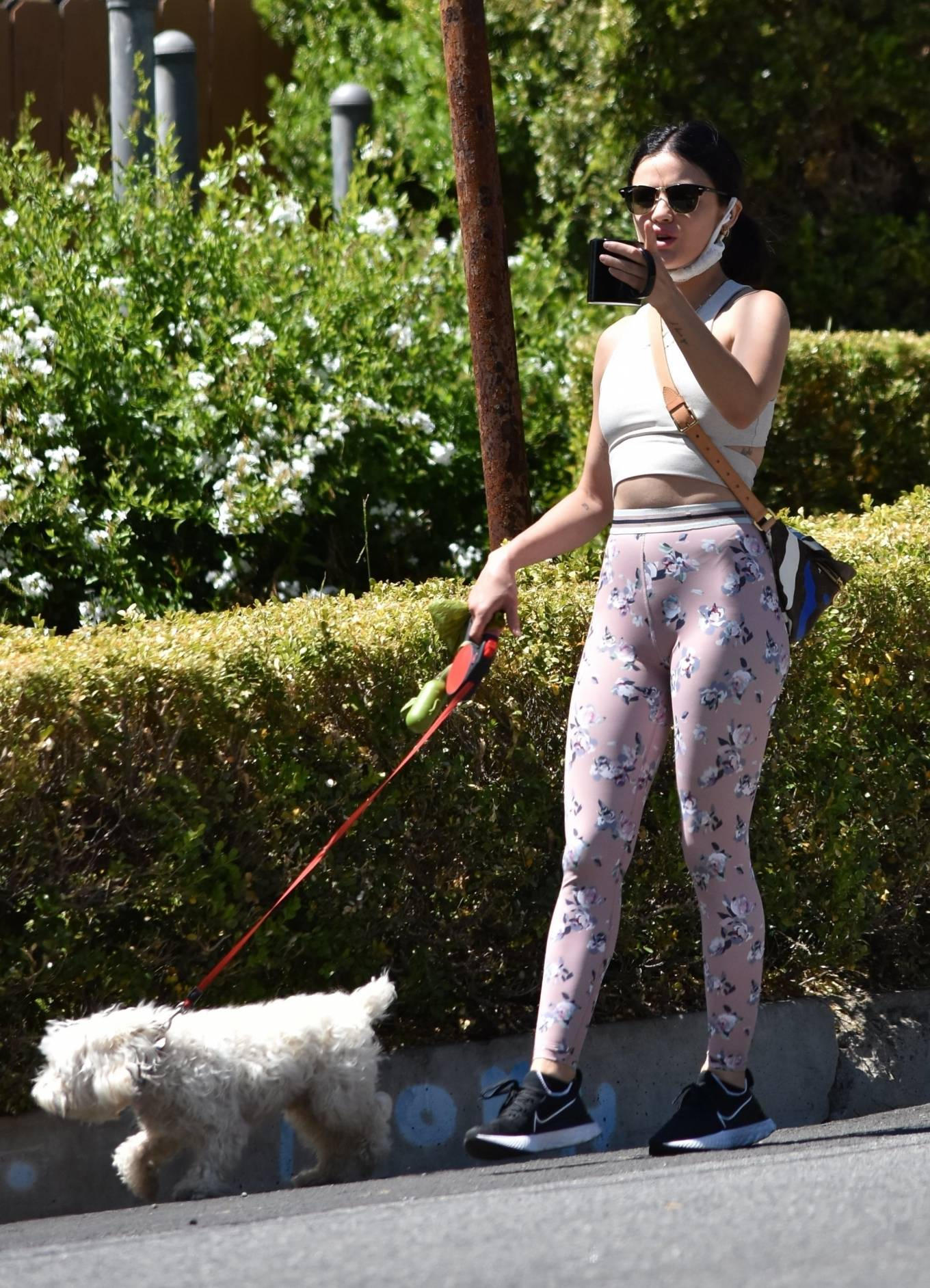 Lucy Hale 2020 : Lucy Hale in Floral Tights – Walking Elvis in Los Angeles-34