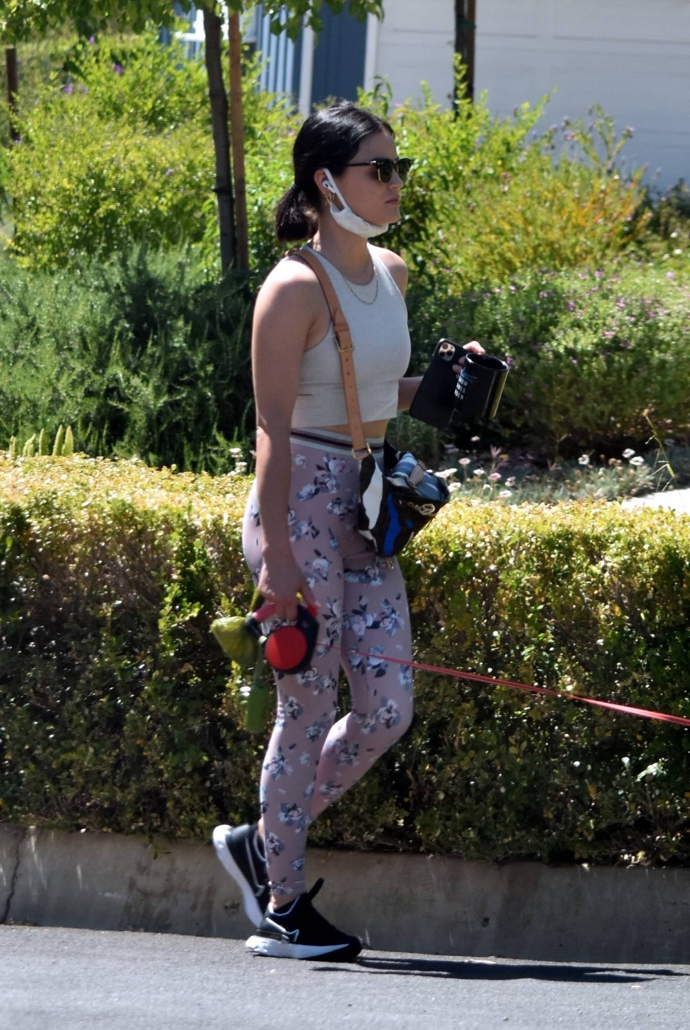 Lucy Hale 2020 : Lucy Hale in Floral Tights – Walking Elvis in Los Angeles-36