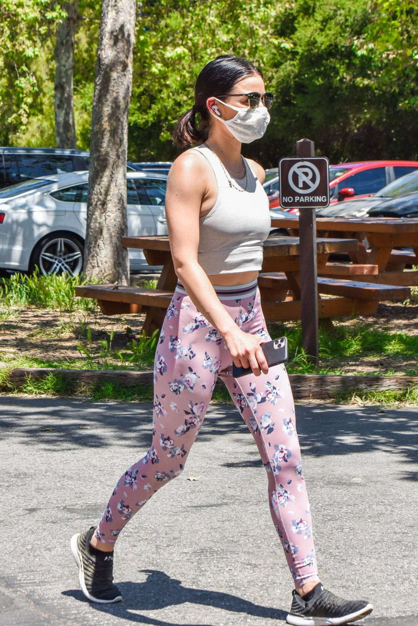 Lucy Hale 2020 : Lucy Hale in Floral Tights – Walking Elvis in Los Angeles-43