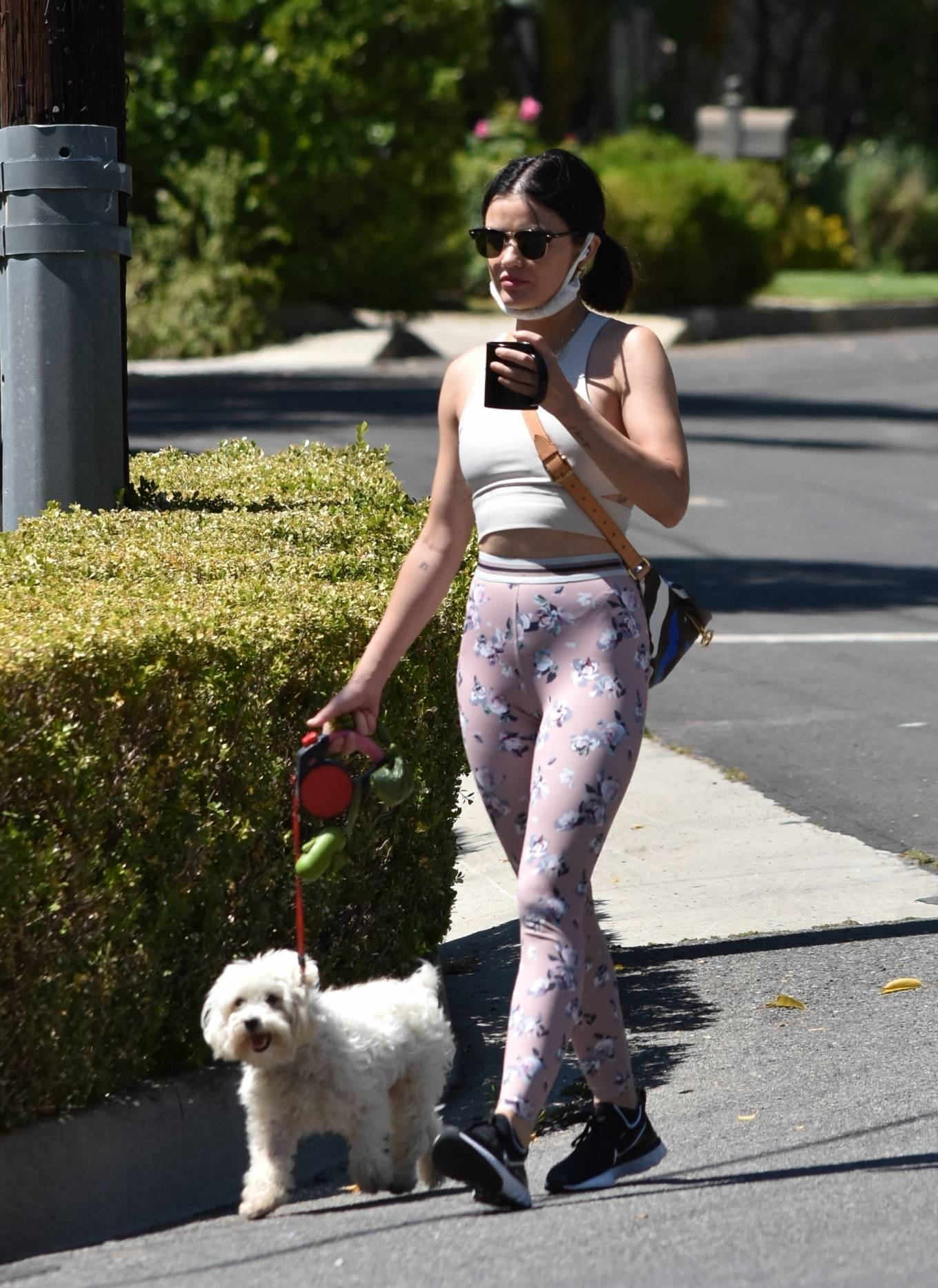Lucy Hale 2020 : Lucy Hale in Floral Tights – Walking Elvis in Los Angeles-53