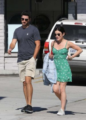 Lucy Hale in Green Mini Dress out in Los Angeles