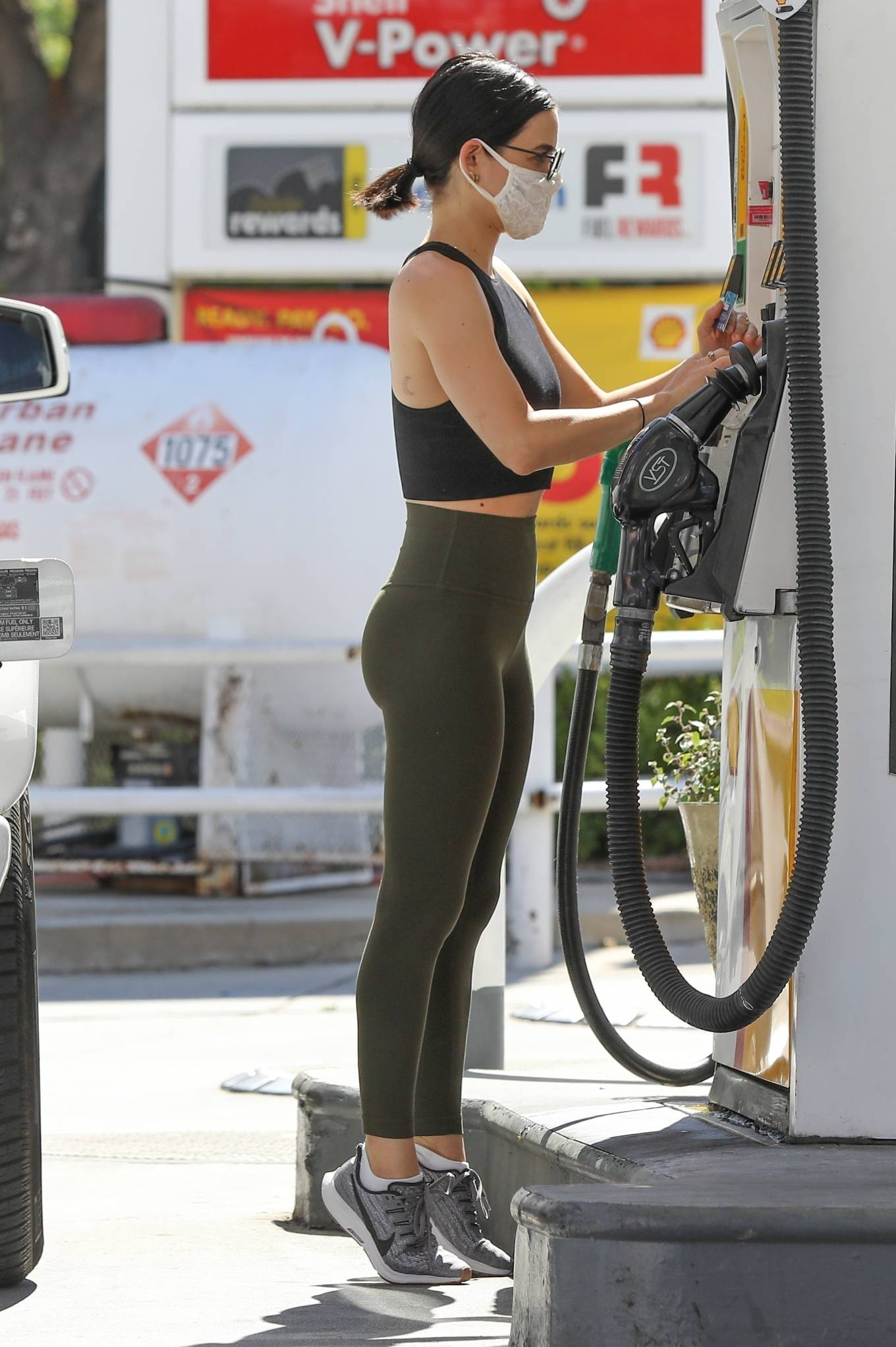 Lucy Hale 2020 : Lucy Hale in Green Tights at a gas station in Studio City-07
