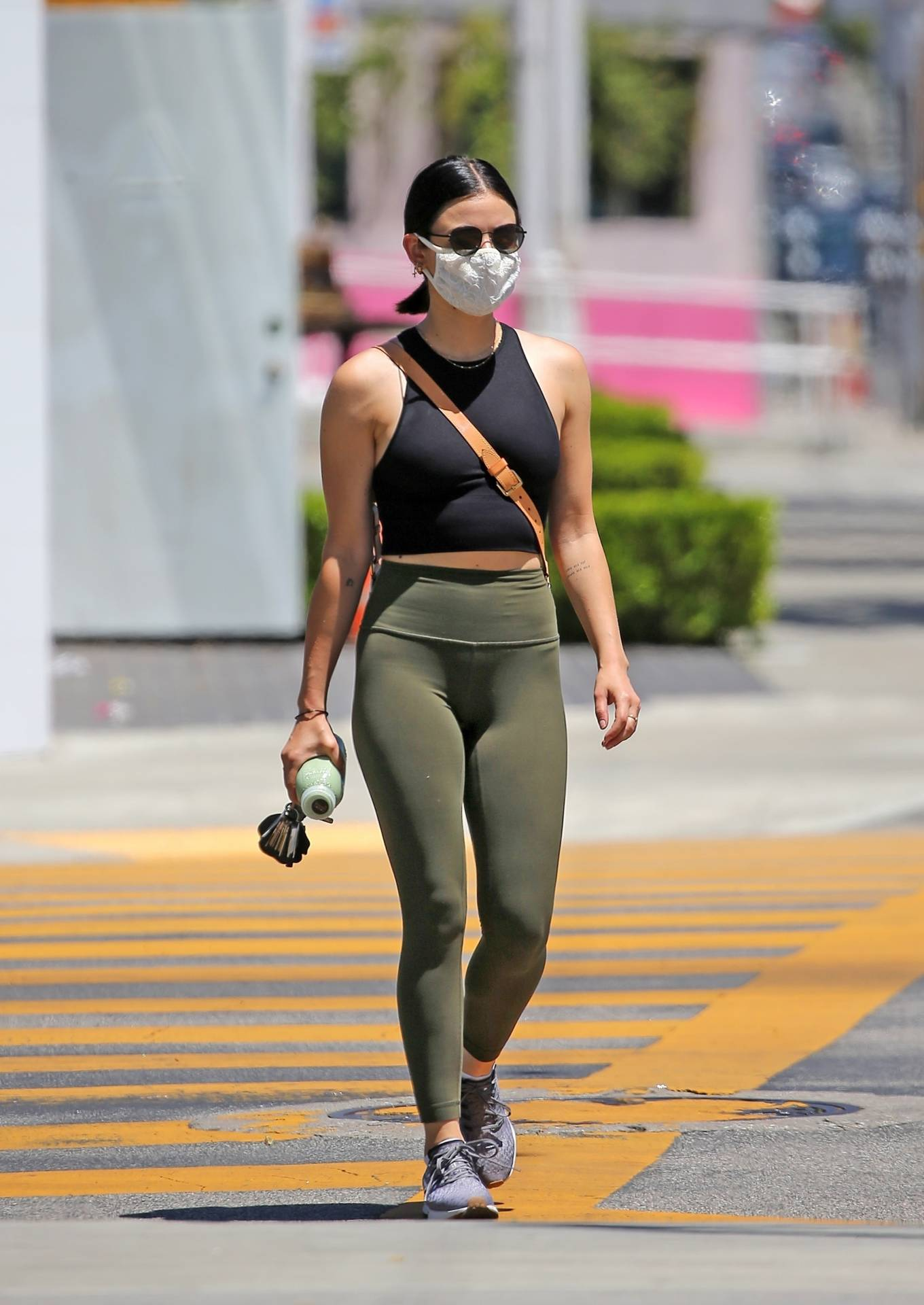 Lucy Hale 2020 : Lucy Hale in Green Tights at a gas station in Studio City-110