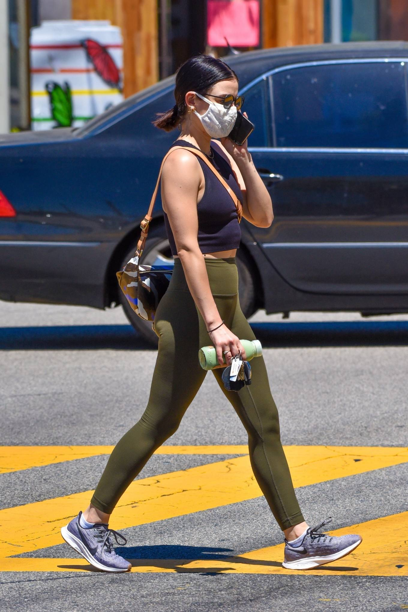 Lucy Hale 2020 : Lucy Hale in Green Tights at a gas station in Studio City-118