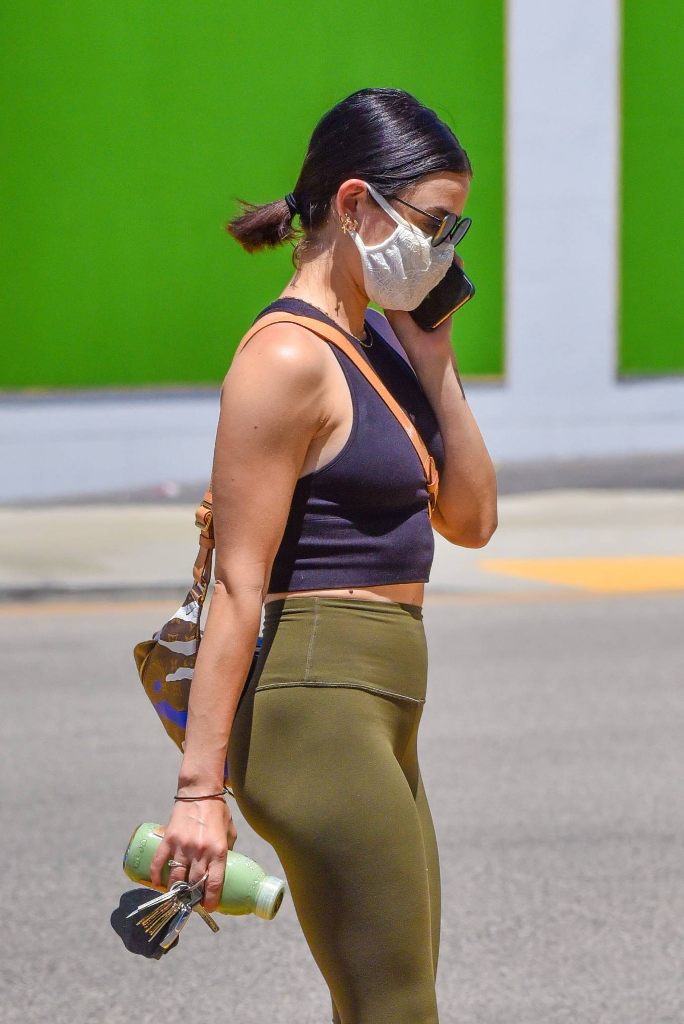 Lucy Hale 2020 : Lucy Hale in Green Tights at a gas station in Studio City-122