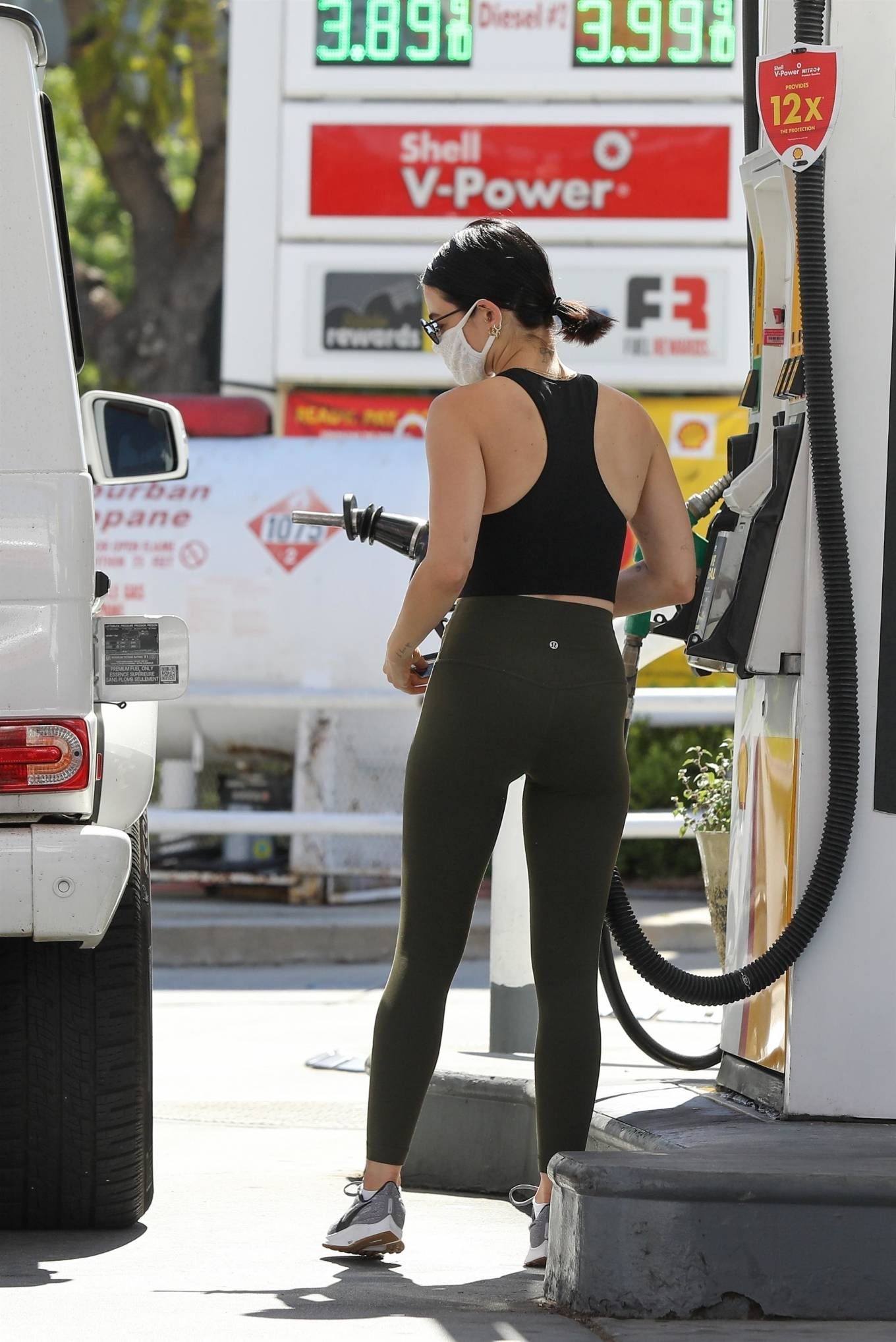 Lucy Hale 2020 : Lucy Hale in Green Tights at a gas station in Studio City-126