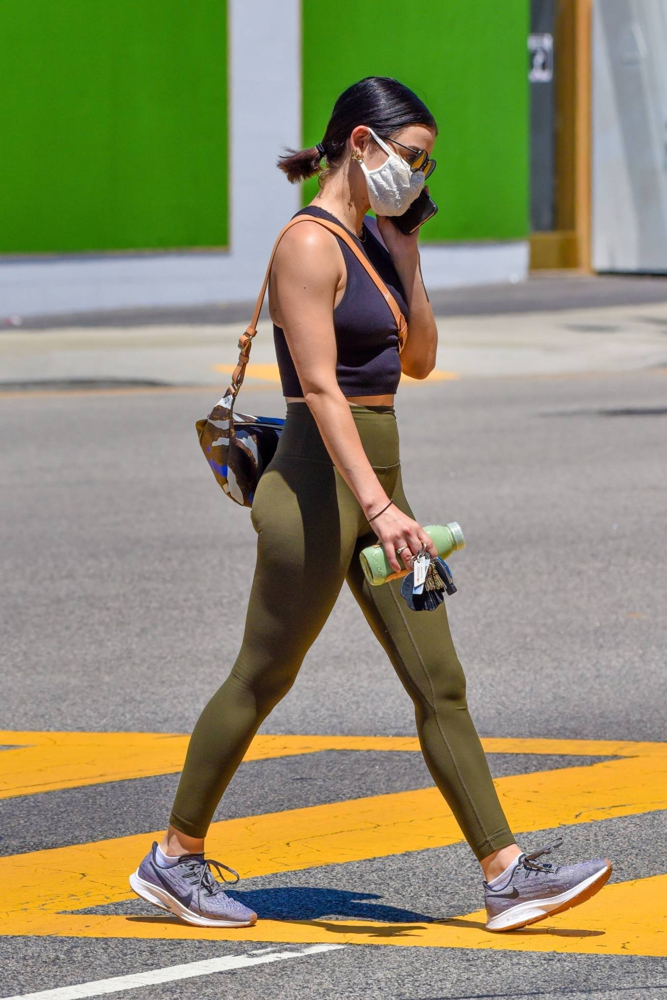 Lucy Hale 2020 : Lucy Hale in Green Tights at a gas station in Studio City-131