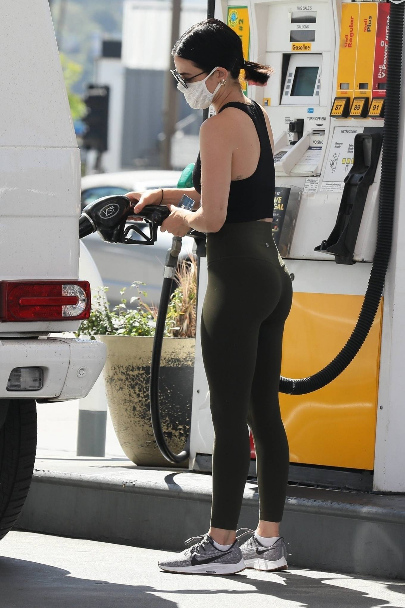 Lucy Hale 2020 : Lucy Hale in Green Tights at a gas station in Studio City-134