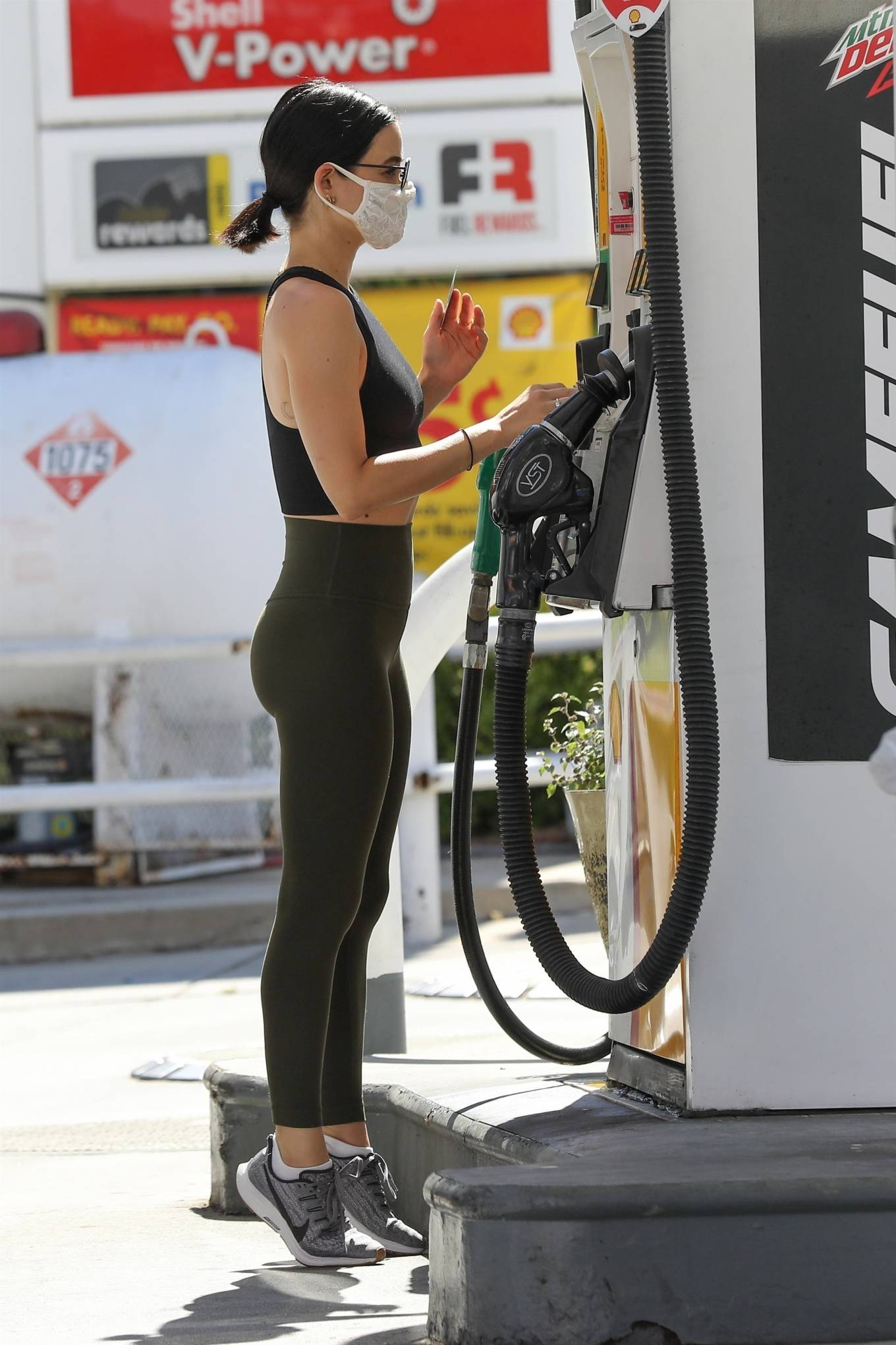 Lucy Hale 2020 : Lucy Hale in Green Tights at a gas station in Studio City-140