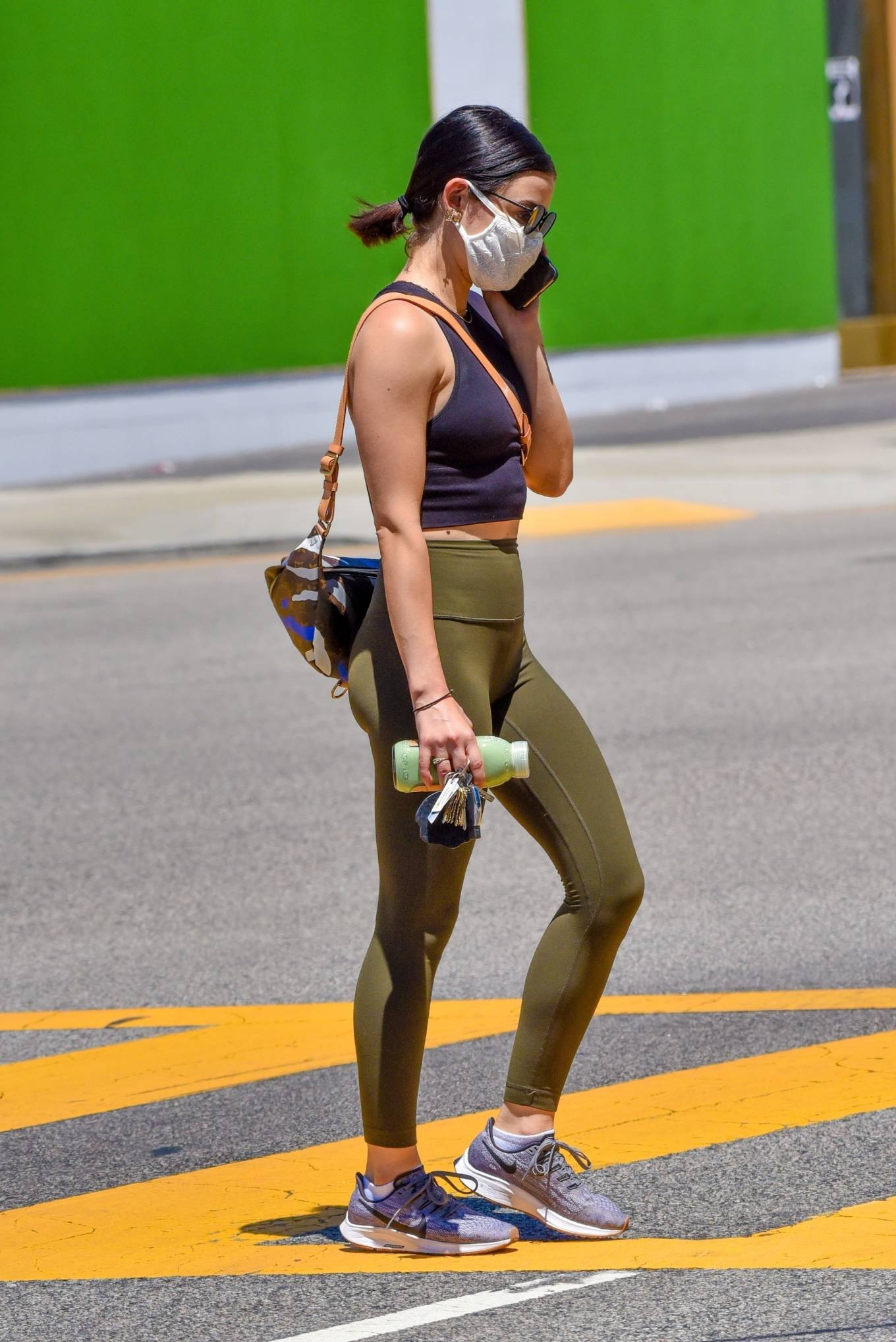 Lucy Hale 2020 : Lucy Hale in Green Tights at a gas station in Studio City-148