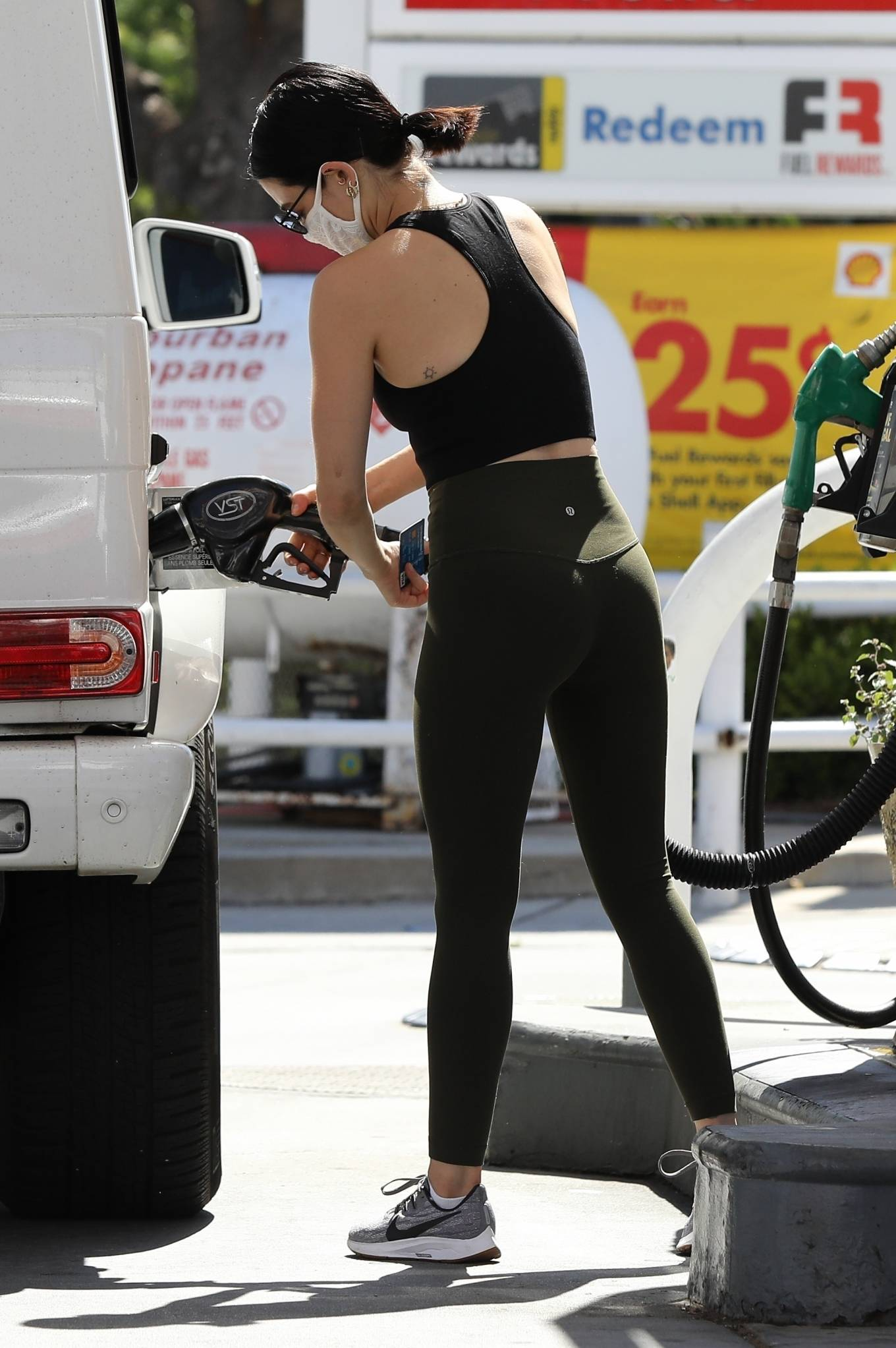 Lucy Hale 2020 : Lucy Hale in Green Tights at a gas station in Studio City-155