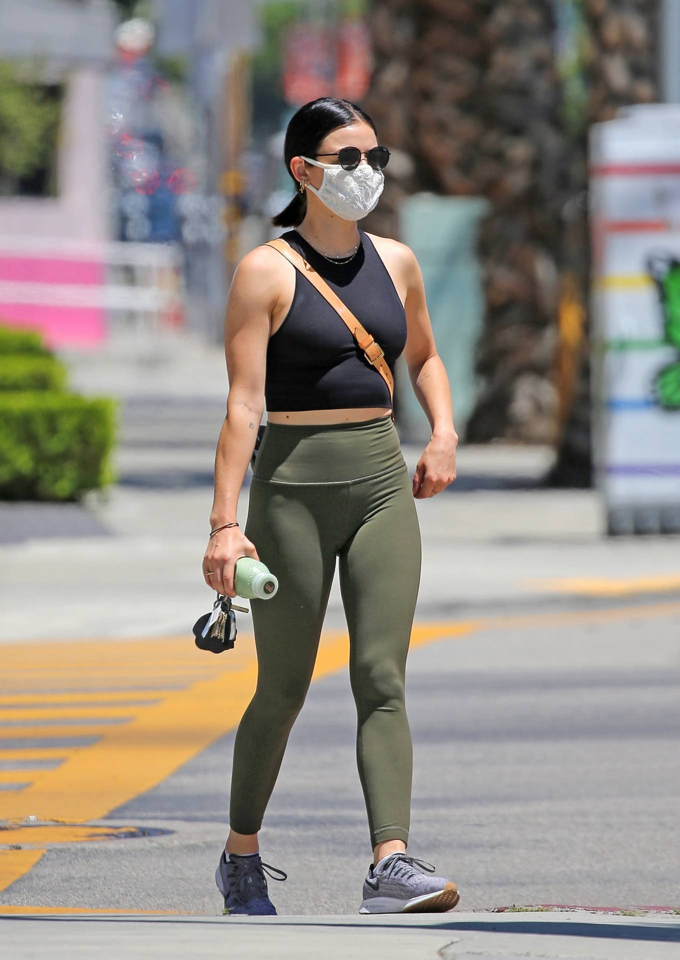 Lucy Hale 2020 : Lucy Hale in Green Tights at a gas station in Studio City-16