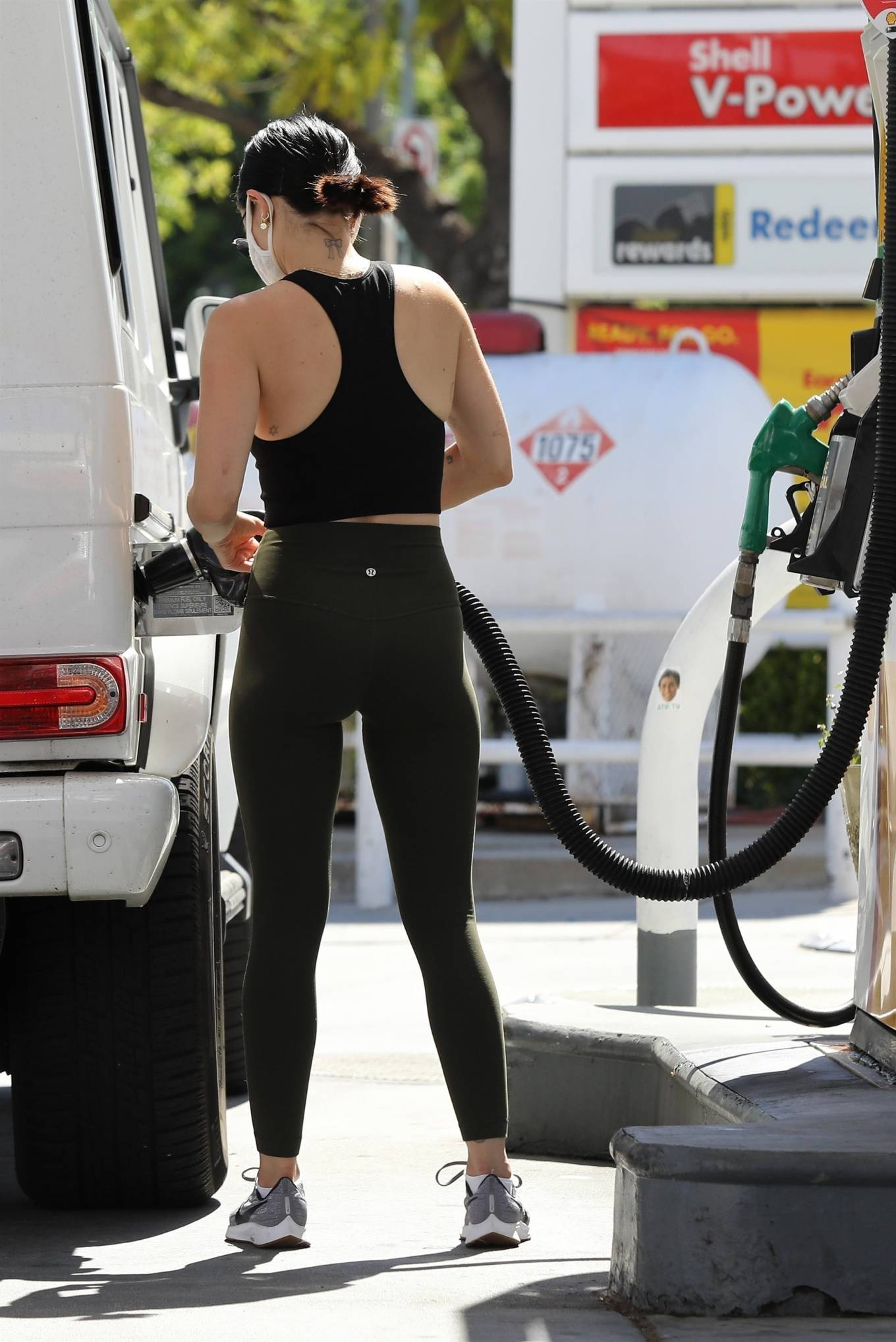 Lucy Hale 2020 : Lucy Hale in Green Tights at a gas station in Studio City-164