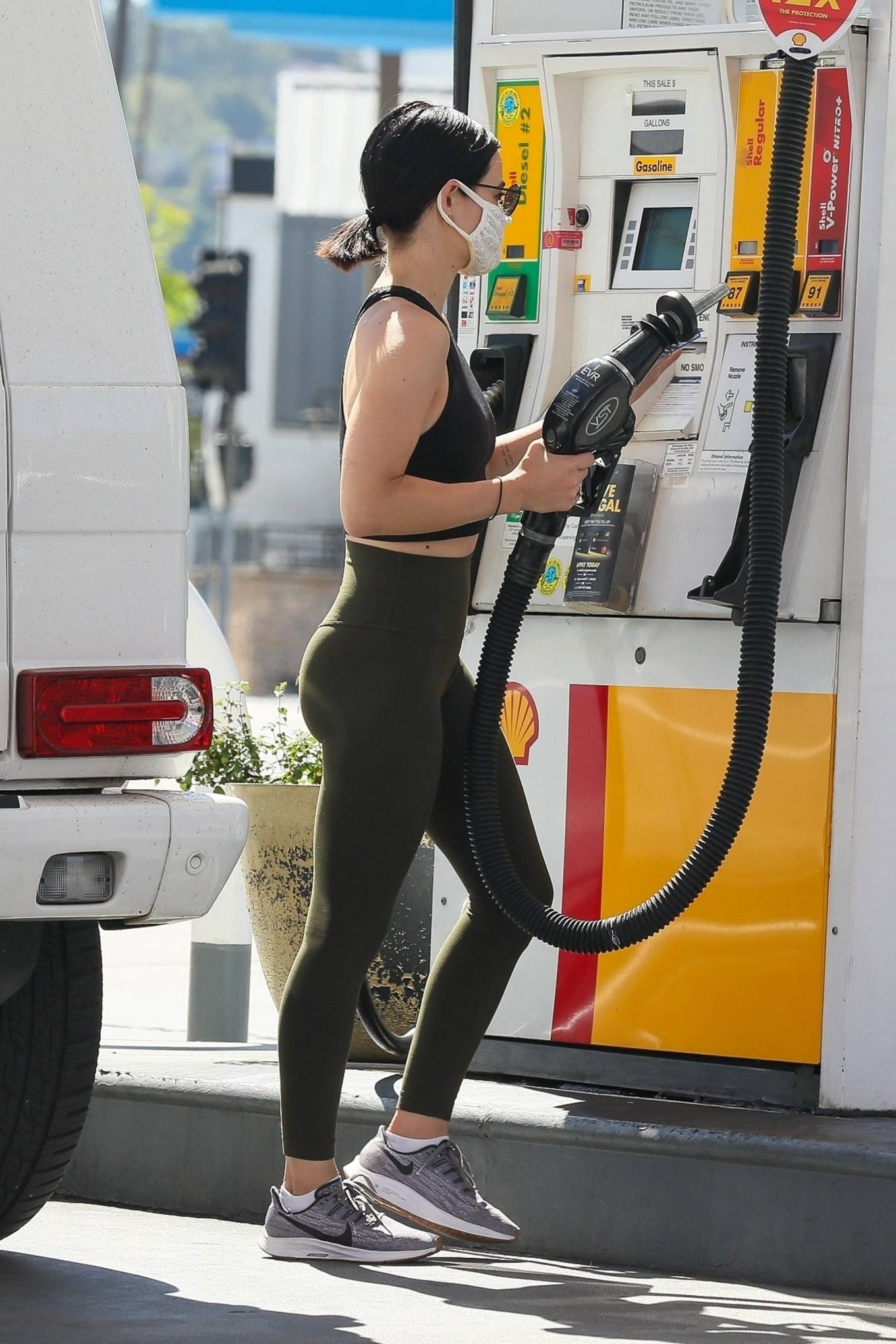 Lucy Hale 2020 : Lucy Hale in Green Tights at a gas station in Studio City-170