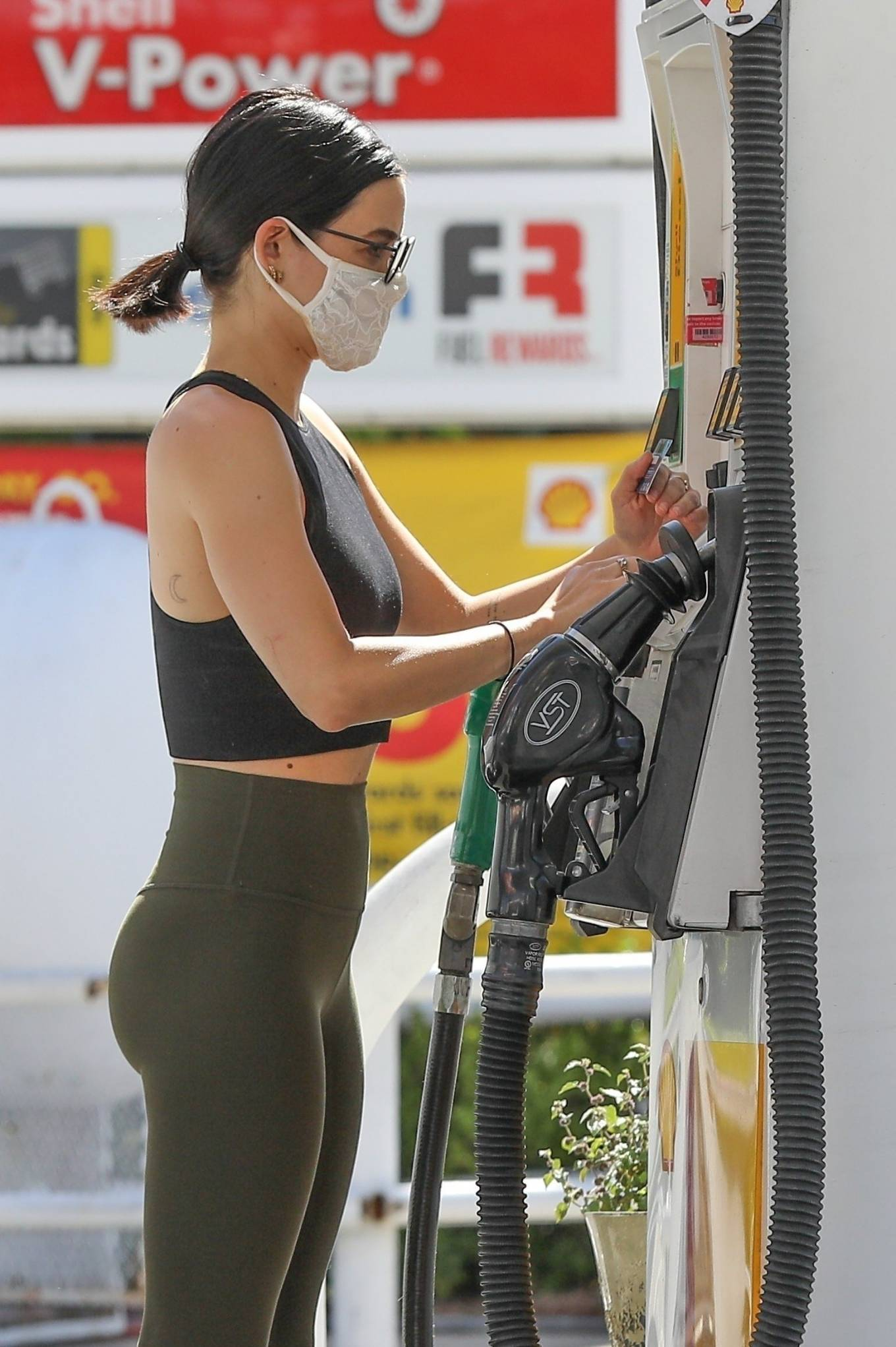 Lucy Hale 2020 : Lucy Hale in Green Tights at a gas station in Studio City-174