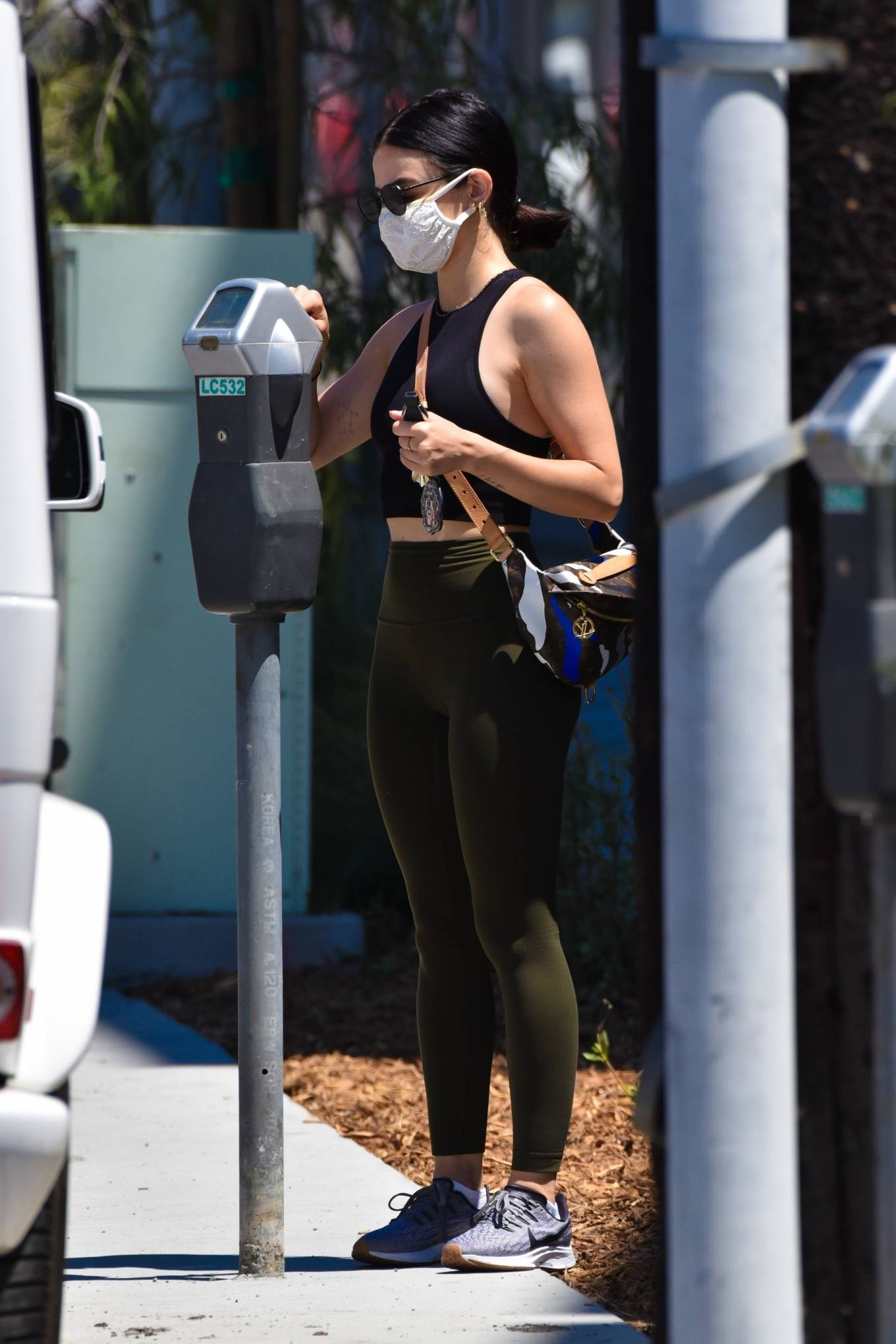 Lucy Hale 2020 : Lucy Hale in Green Tights at a gas station in Studio City-28