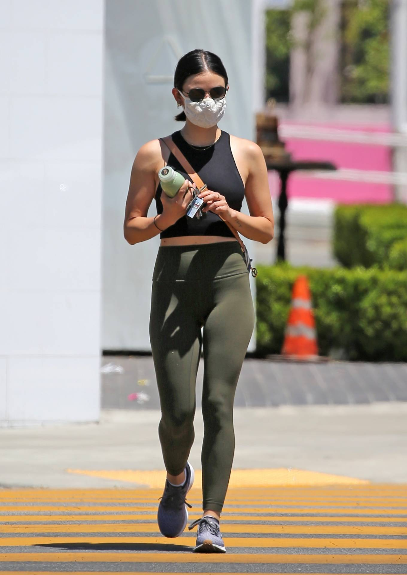Lucy Hale 2020 : Lucy Hale in Green Tights at a gas station in Studio City-33