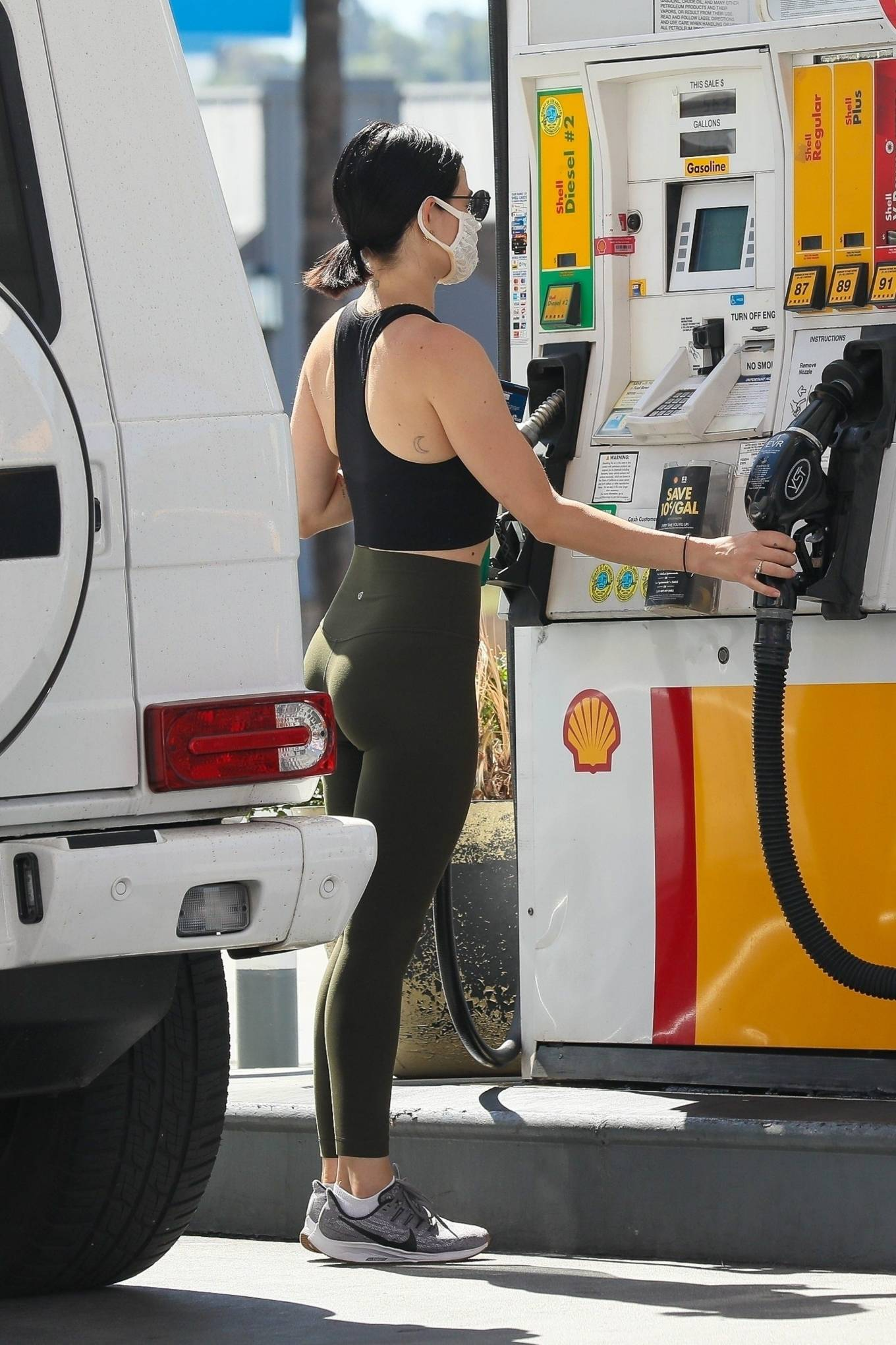 Lucy Hale 2020 : Lucy Hale in Green Tights at a gas station in Studio City-36