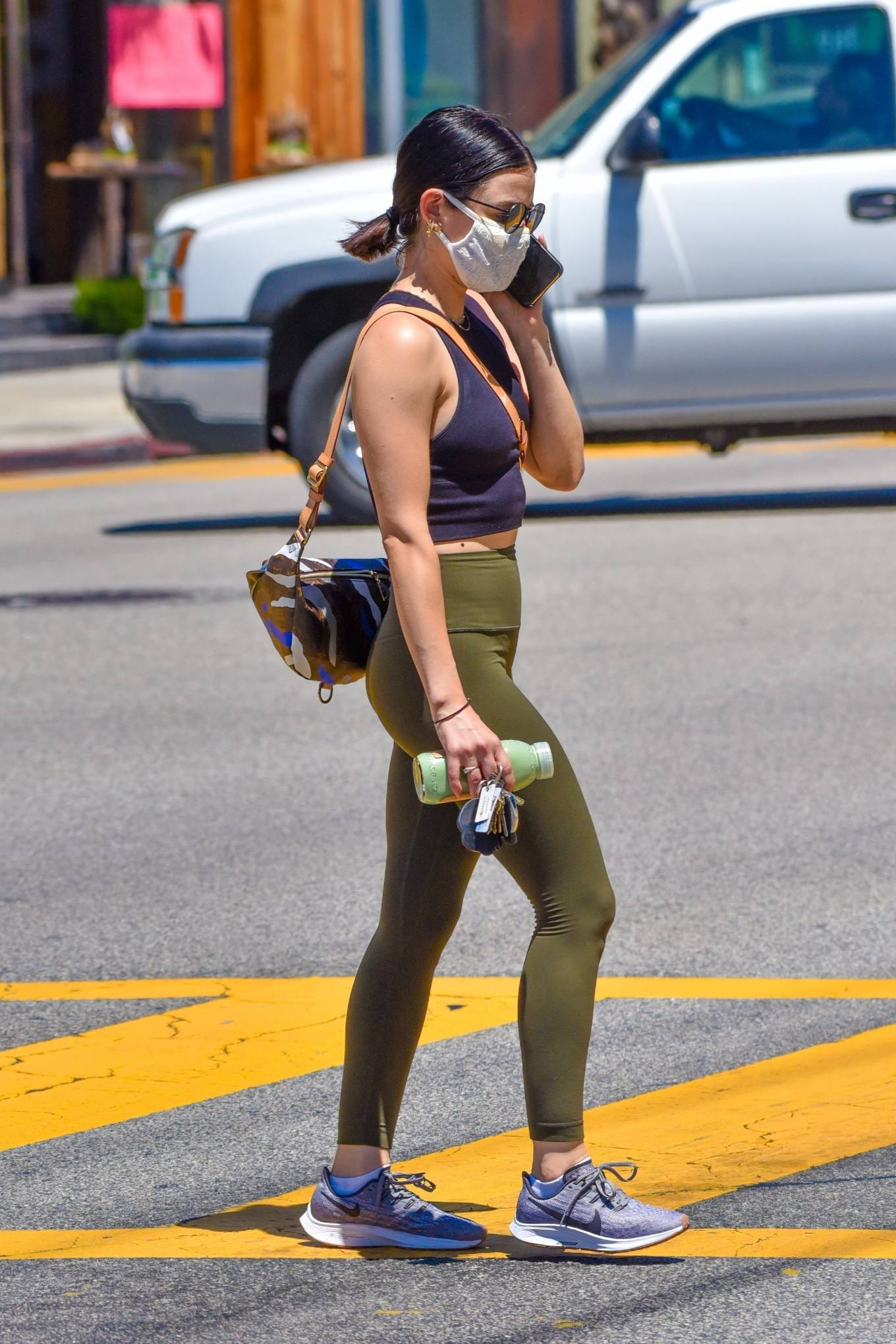 Lucy Hale 2020 : Lucy Hale in Green Tights at a gas station in Studio City-47