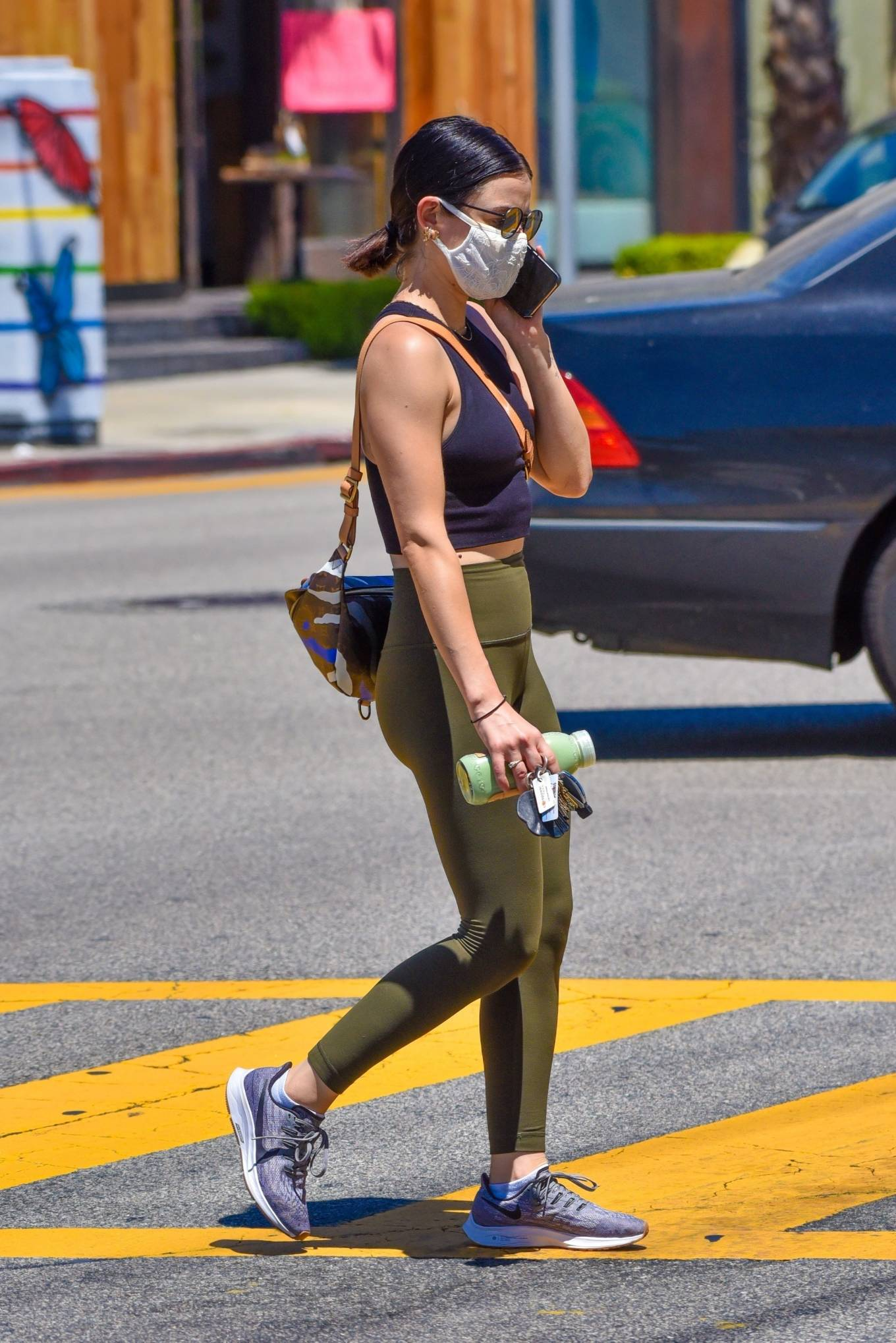 Lucy Hale 2020 : Lucy Hale in Green Tights at a gas station in Studio City-53
