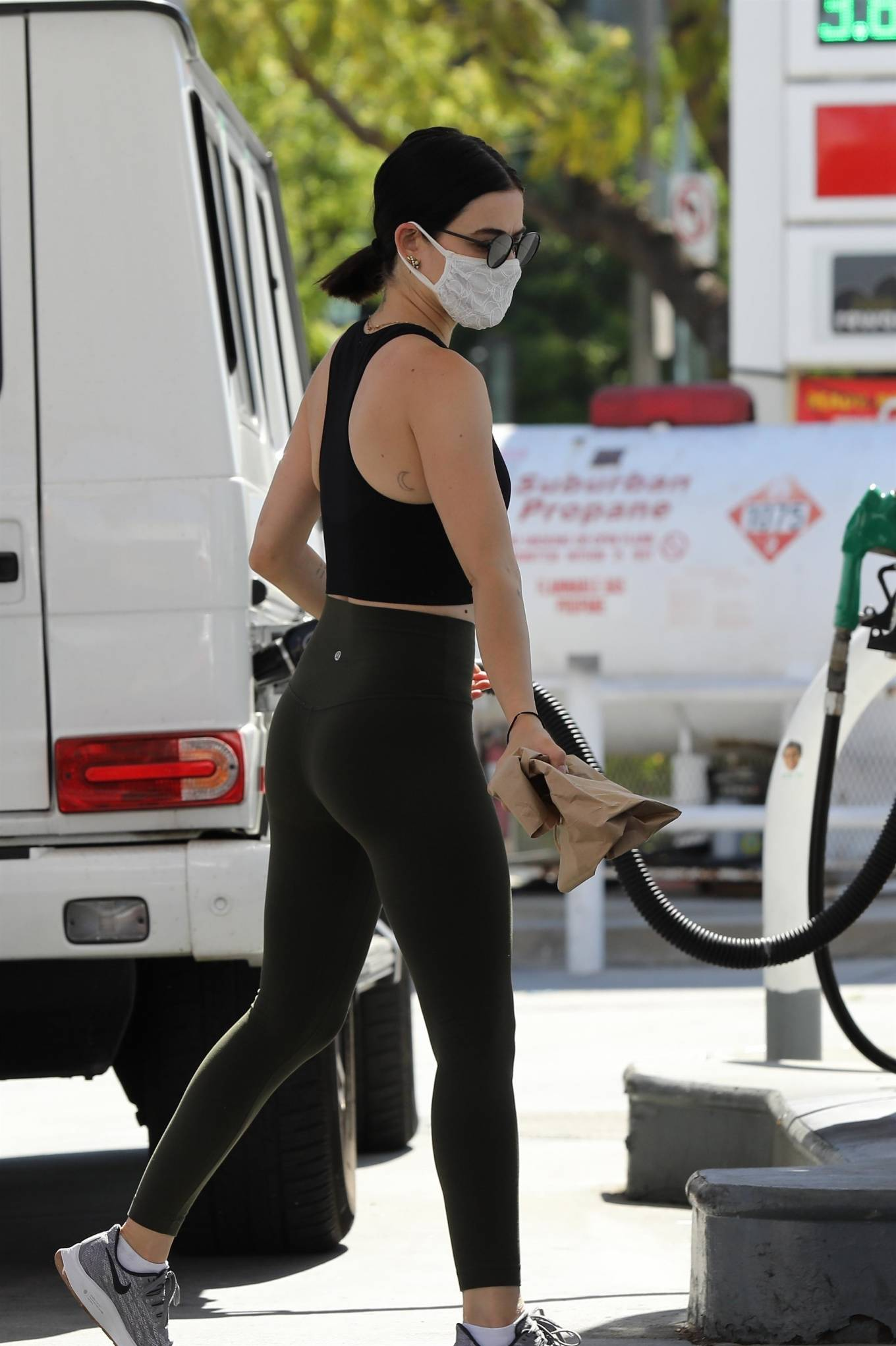 Lucy Hale 2020 : Lucy Hale in Green Tights at a gas station in Studio City-67