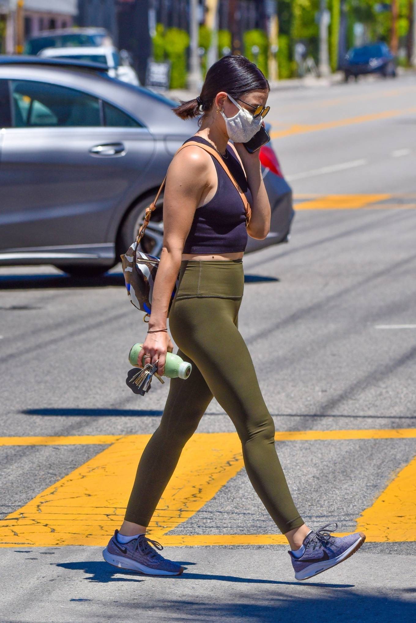 Lucy Hale 2020 : Lucy Hale in Green Tights at a gas station in Studio City-74