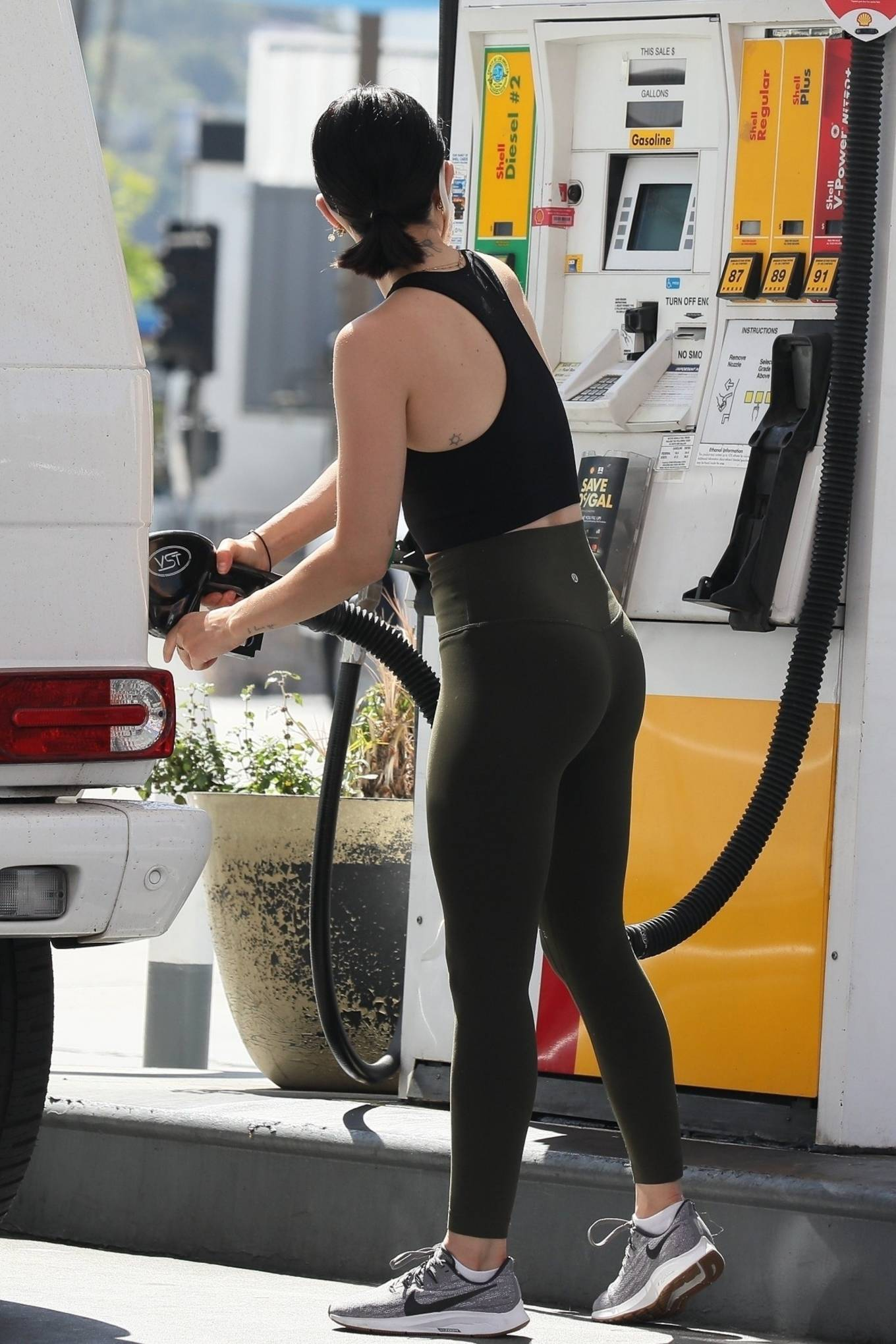 Lucy Hale 2020 : Lucy Hale in Green Tights at a gas station in Studio City-76