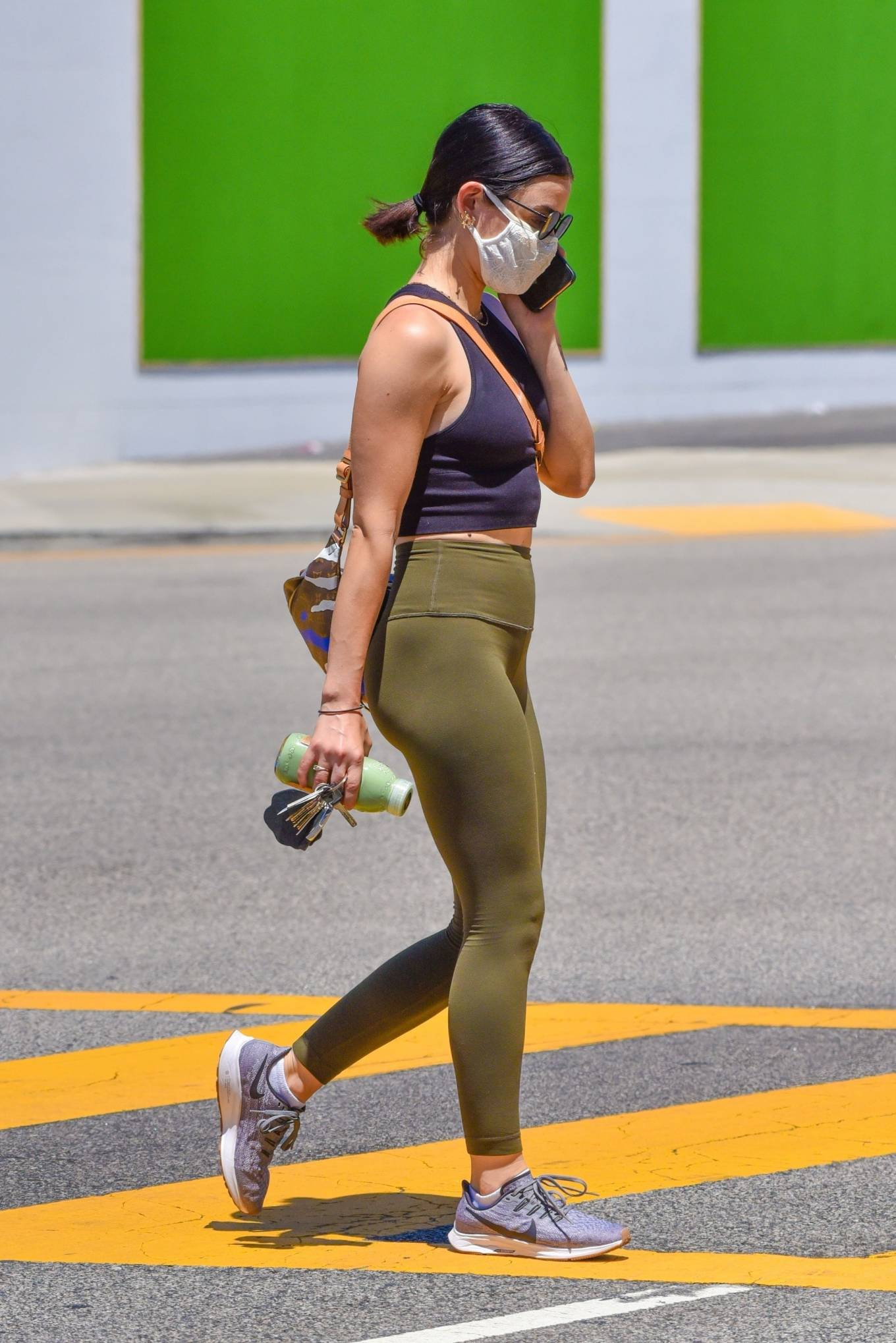 Lucy Hale 2020 : Lucy Hale in Green Tights at a gas station in Studio City-82