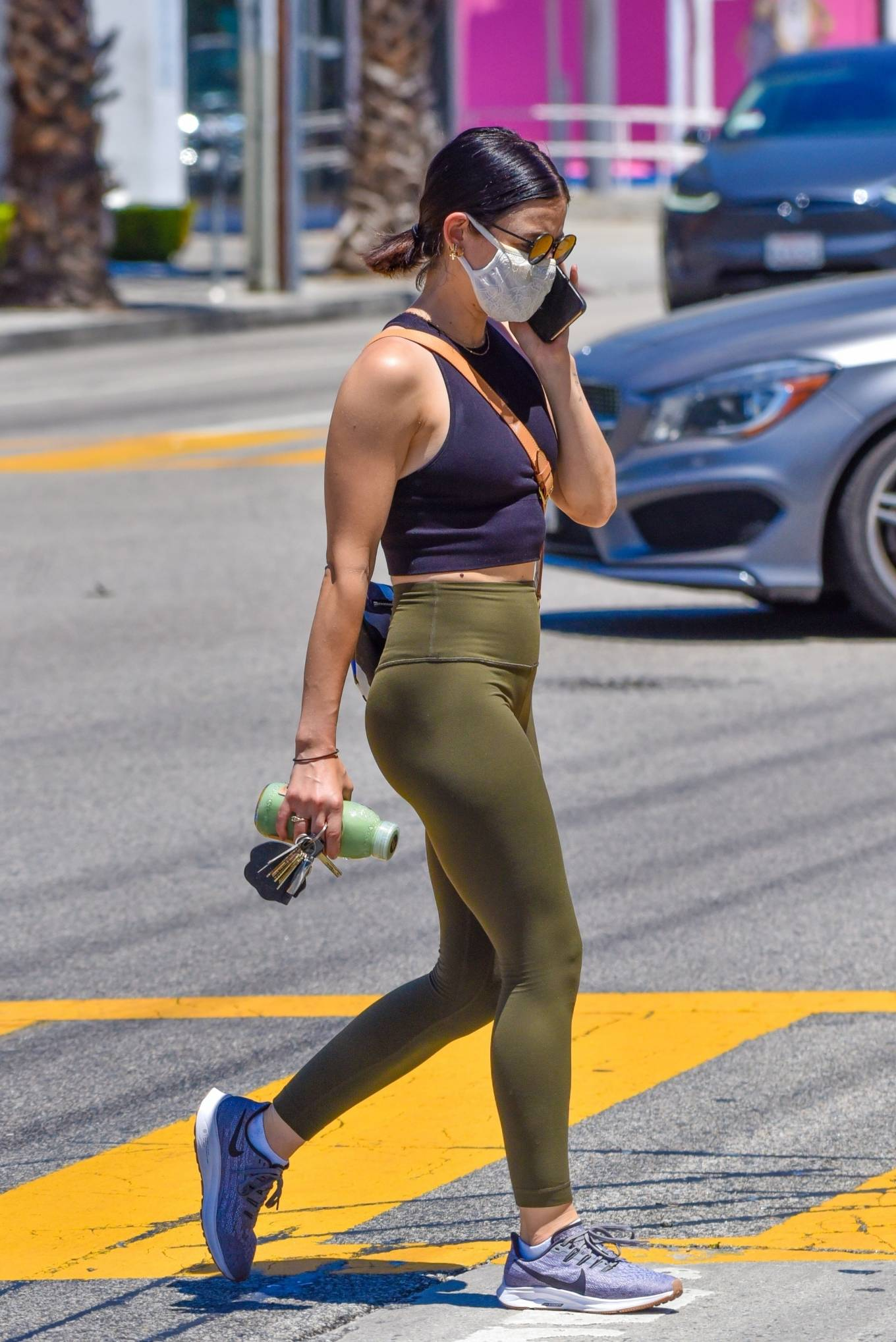 Lucy Hale 2020 : Lucy Hale in Green Tights at a gas station in Studio City-86