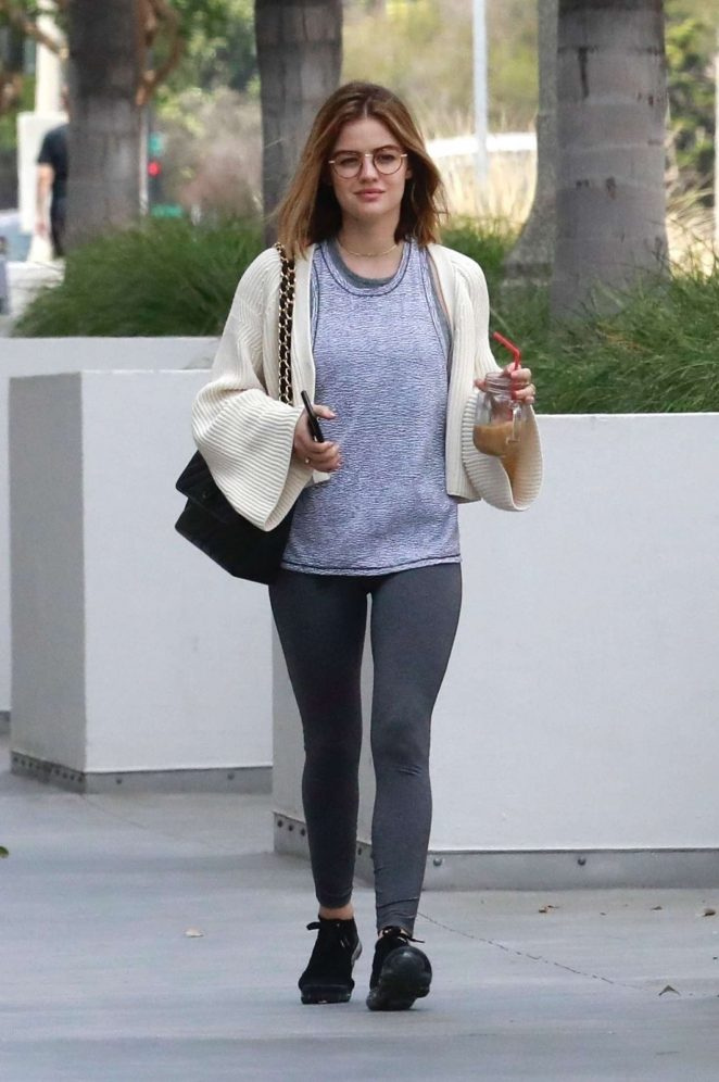 Lucy Hale in Grey Tights out in Pasadena
