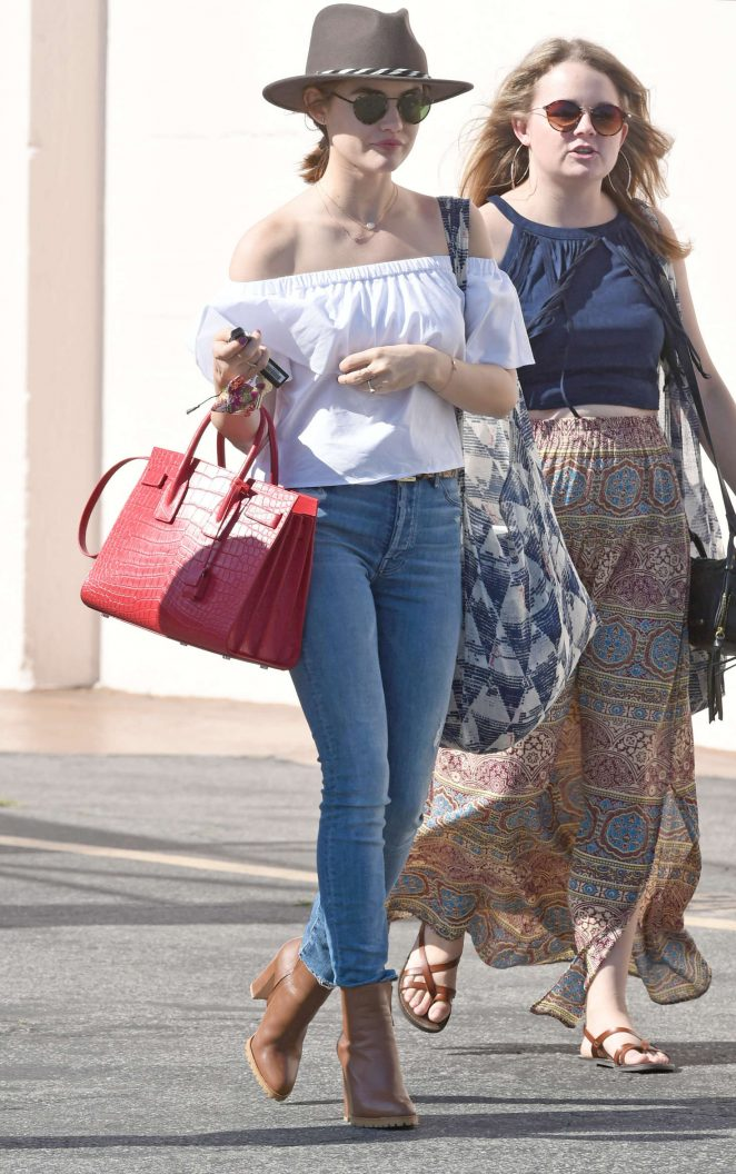 Lucy Hale in jeans shopping in Los Angeles