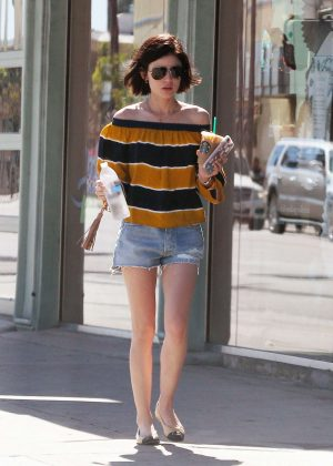 Lucy Hale in Jeans Shorts at Starbucks in Los Angeles