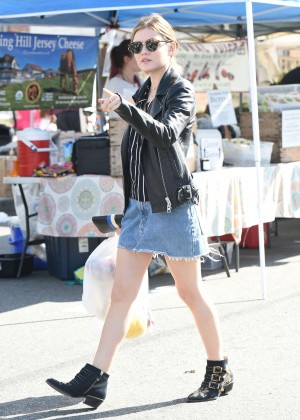 Lucy Hale in Jeans Skirt Shopping in Los Angeles