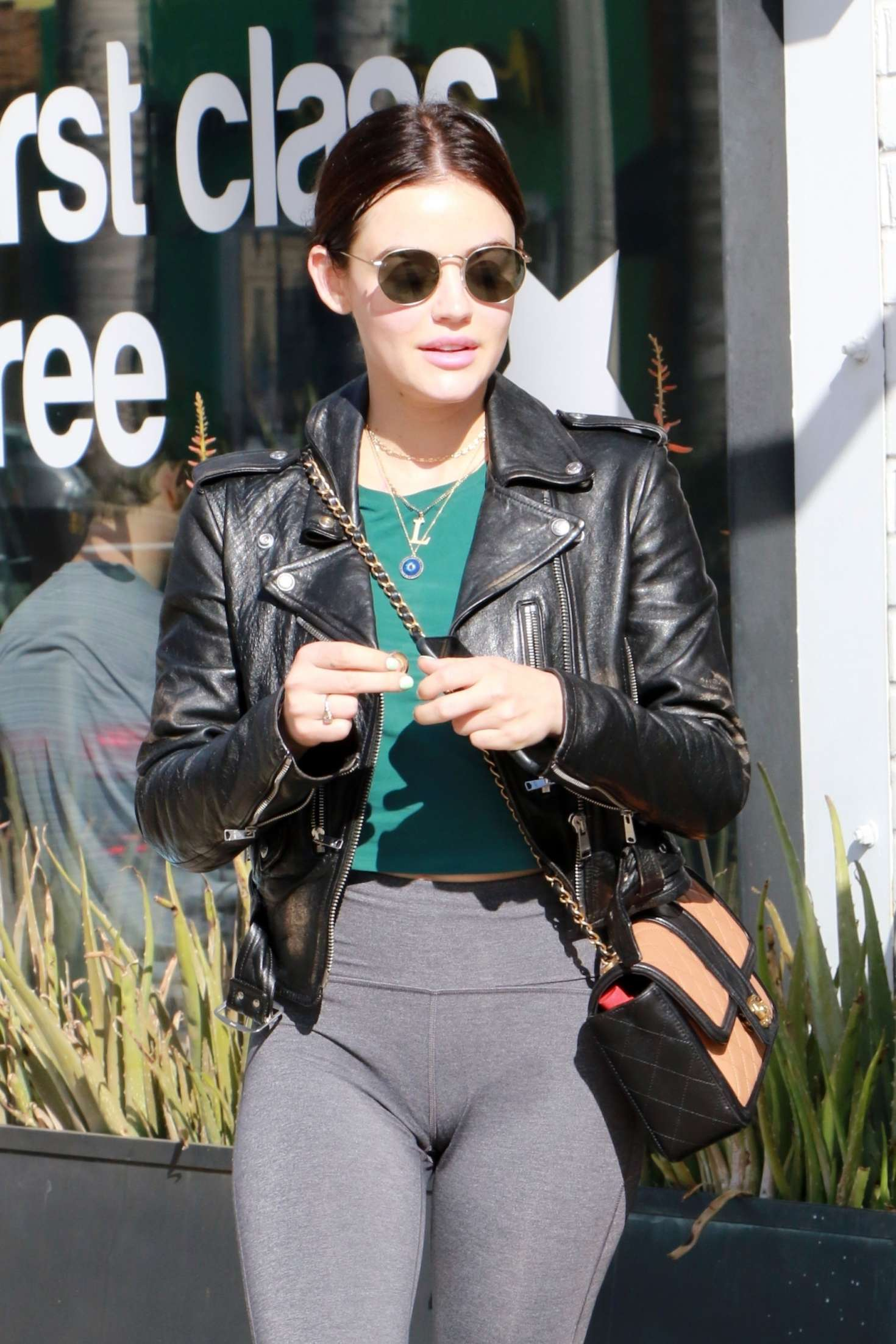 Lucy Hale in Leather Jacket and Tights - Out in Los Angeles