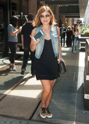 Lucy Hale in Black Mini Dress out in NY