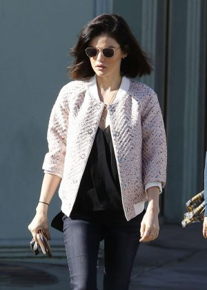 Lucy Hale in pink jacket out in LA