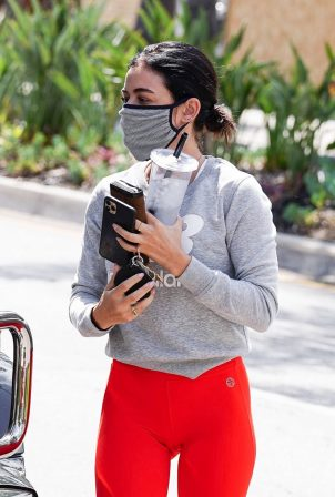 Lucy Hale - In red leggings at Training mate in Studio City