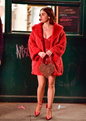 Lucy Hale in Red - On the set of 'Katy Keene' in NYC