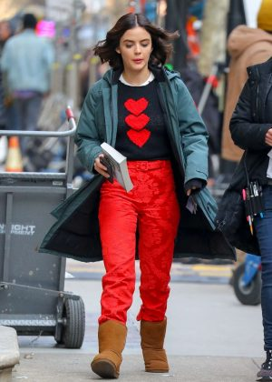 Lucy Hale in Red Pants - Leaves the set of 'Riverdale spin-off' in NY
