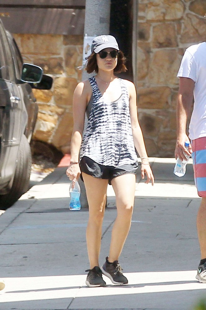 Lucy Hale in Shorts Out in LA