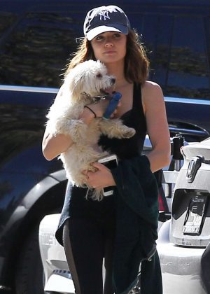Lucy Hale in Tights with her dog in Los Angeles